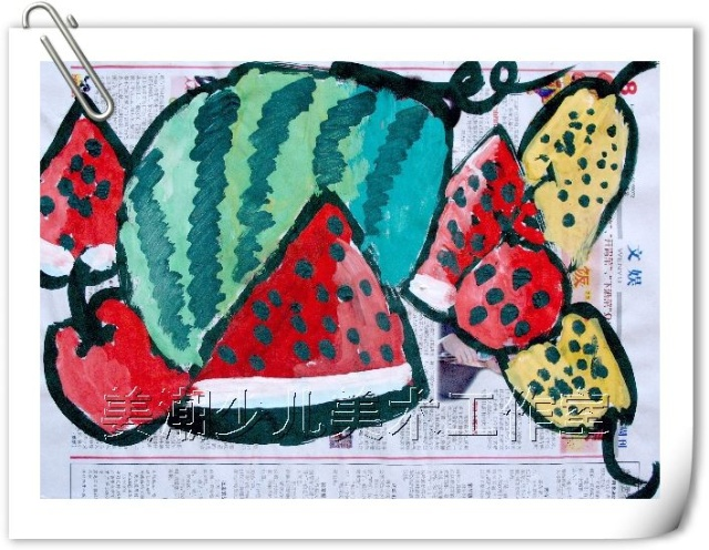 儿童创意水粉-----西瓜甜甜-稚趣天然 姜潮少儿美术室