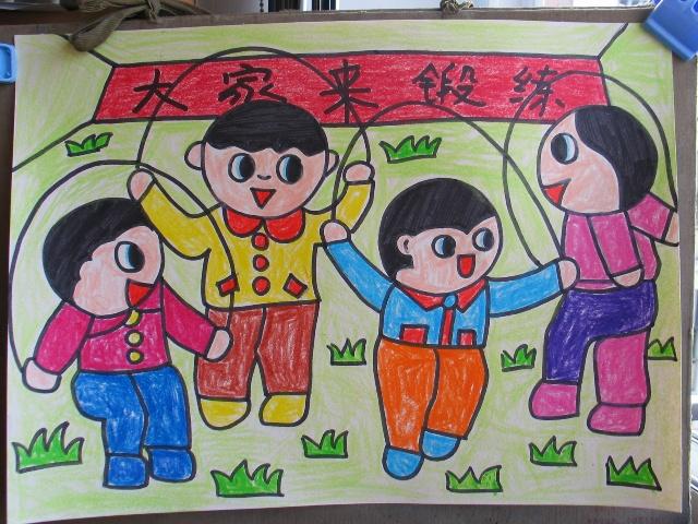 运动的人幼儿绘画作品