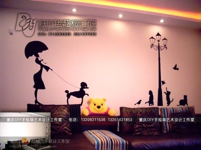 【重庆手绘墙·diy墙绘】晋愉九龙湾·沙发背景墙画(图)