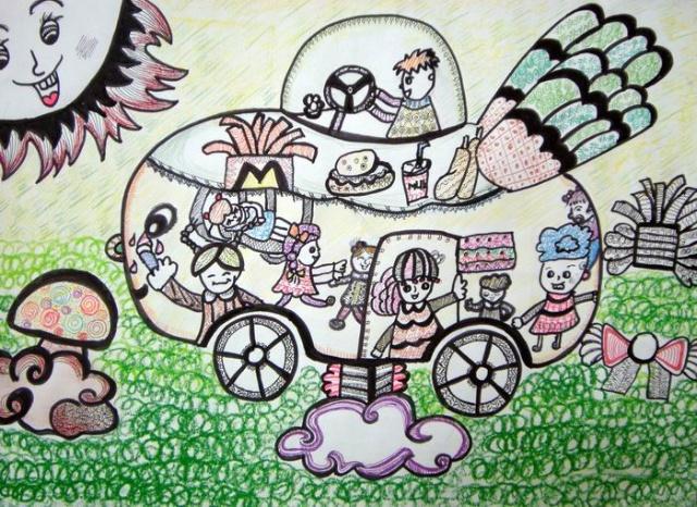 儿童画未来的城市图画,儿童画未来,儿童画未来汽车图片,高清图片