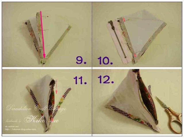 将棉绳和丝带固定在三角形一边的中心