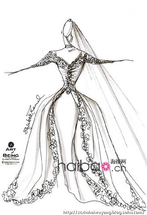 简笔画风格唯美彩铅婚纱