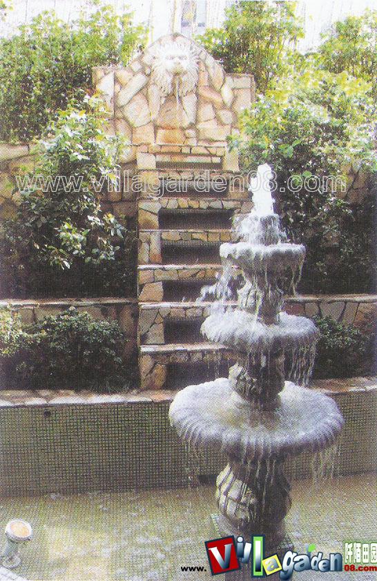 欧式台阶式水池小品图片