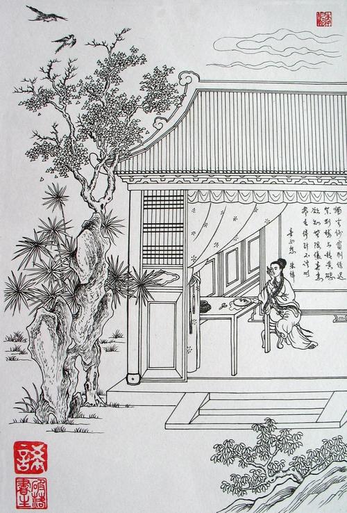 凉亭子手绘效果图