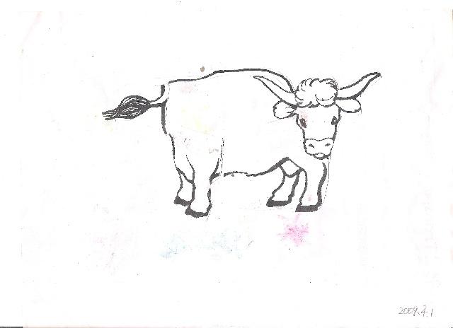 默默幼儿园作业中的一篇,将图片沿线剪下,然后想象出一头牛的形象,并
