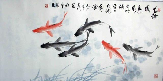 荷花的画法步骤_. 国画鱼图 儿童国画金鱼的画法