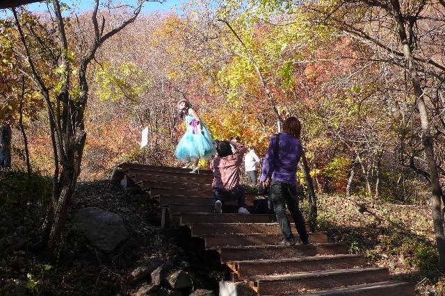 铁刹山,关门山,五女山等风景区秋季枫叶火红,给本溪涂抹着眩目的色彩.