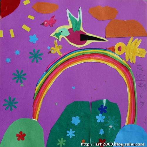 经过孩子们的环保纸贴画作品制造