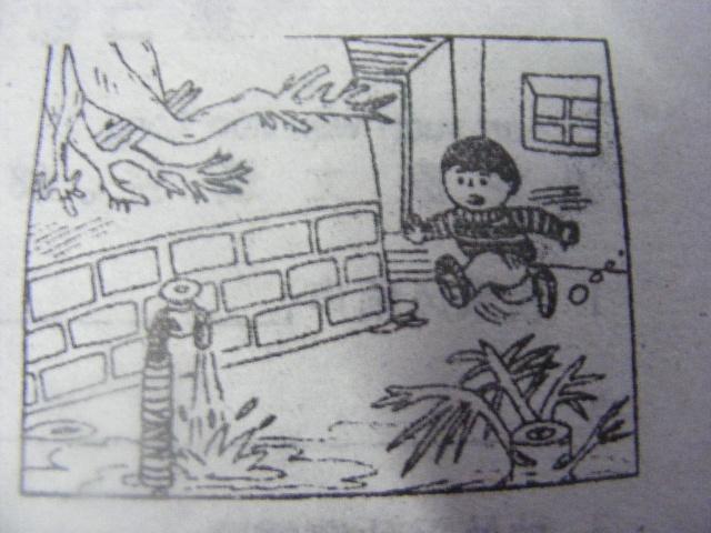 一天,小明出去玩,忽然间看到水龙头在流着水,他心里很着急
