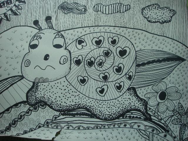儿童线描画蜗牛步骤