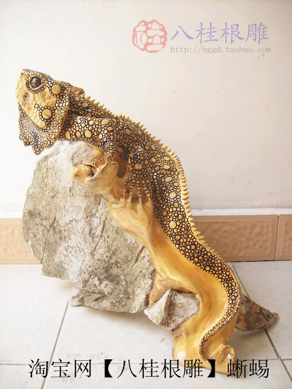木雕蜥蜴精品图片